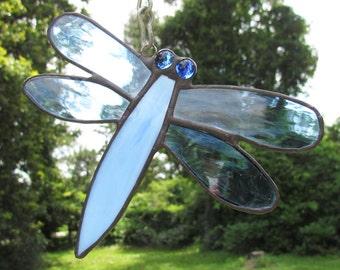 Stained Glass Dragonfly Suncatcher, Glass Dragonfly,Dragonfly Suncatcher,Light Blue Dragonfly,