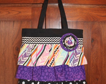Cheetah Chevron Ruffle Purse Tote Bag Purple Black Dot Ruffled Canvas  Book Dance Gymnastics Swim Music Soccer Overnight Personalized