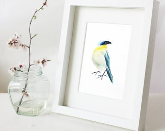 Original Bird Watercolor Painting/Chinese ink painting–Bird Watercolor Abstract Painting,Yellowthroat,8X10inch Wall Decor Home Decor