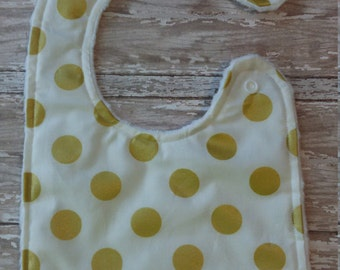 Baby Bib- Gold and White Bib with Minky Backing, Gold Polka Dots Bib, Baby Girl Bib, Baby boy Bib, Minky Baby Bib, Gold Baby Bib