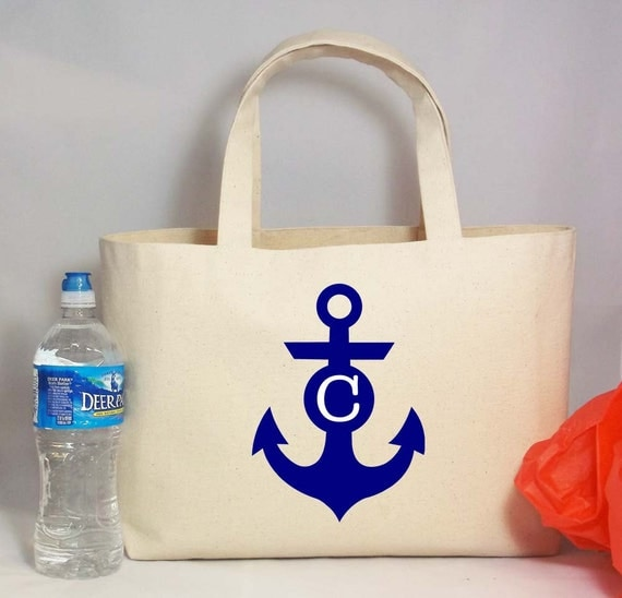 ANCHOR MONOGRAM Beach Wedding Welcome Tote Bag Personalized