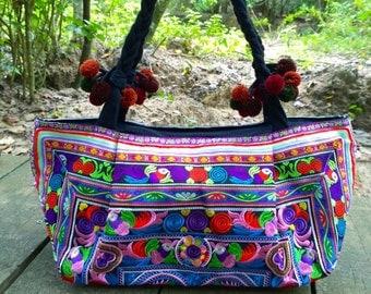Boho Embroidery Bag - Hmong Ethnic Handbag - Gypsy Tote Bag  ( FREE SHIPPING WORLDWIDE )