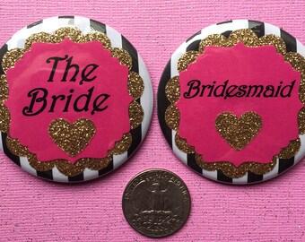 Bride Button - Kate Spade Glitter Bride Button - Bachelorette Party Buttons - Pink Glitter - Bride Badge - Bride Tag.. Bridal Party Buttons