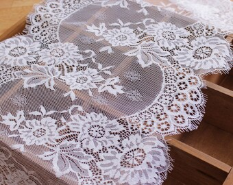 3 Yards Sale Graceful Eyelash Lace Fabric 12.20 Inches Wide Scalloped Lace Fabric  For Dress Veil Costume Supplies YL231