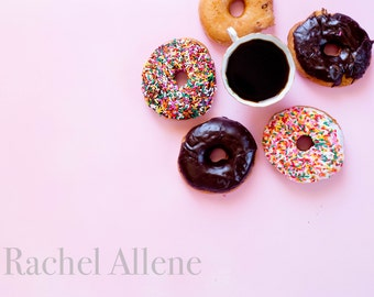 Styled Stock Photography Pink Background and donuts / Desk Image / Digital Image / Product Photography