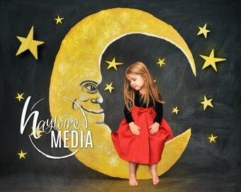 Baby, Toddler, Child, Moon Photography Digital Backdrop Prop for Photographers with Star Background - Digital JPG Prop