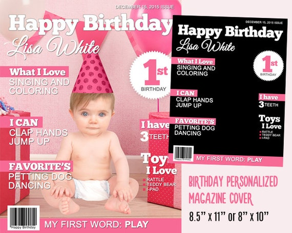 Personalized baby birthday magazine cover template for party for Custom magazine cover templates