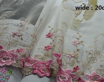 """5 meter 20cm 7.87"""" wide pink mesh embroidery lace trim ribbon L20H14 free ship"""