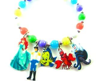 Little Mermaid Bracelet, Little Mermaid Jewelry, Little Mermaid Birthday, Little Mermad Party Favors, Little Mermaid Gift, Ariel