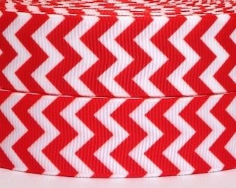 "7/8"" Red Chevron Grosgrain Ribbon 3 yards - 7/8"" Chevron Grosgrain Ribbon - Red Chevron Grosgrain Ribbon -Grosgrain Ribbon 3 yards"