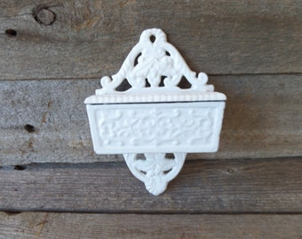 Vintage Cast Iron Match Holder, Vintage Match Safe, Wilton Match Holder, Wall Mounted Match Safe, Shabby Chic Match Holder, Match Safe