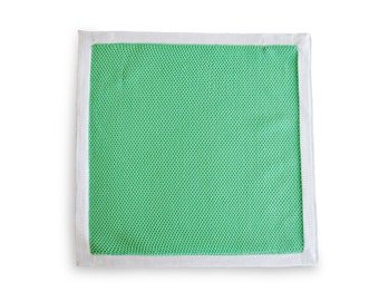 Frederick Thomas knitted Light Green pocket square with White Edging FT3179