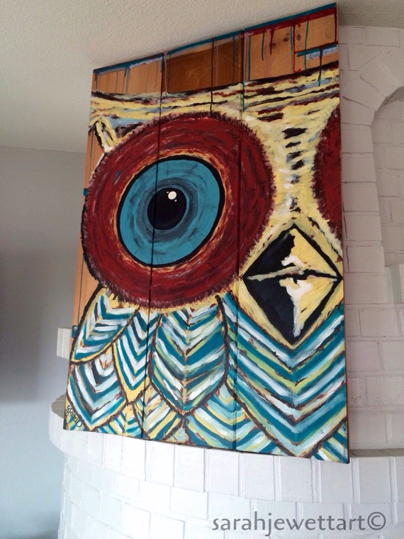Items similar to Owl Painting, bird painting, abstract ...
