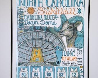 University of North Carolina Basketball Print