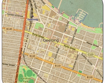Geelong Vintage Map Coasters