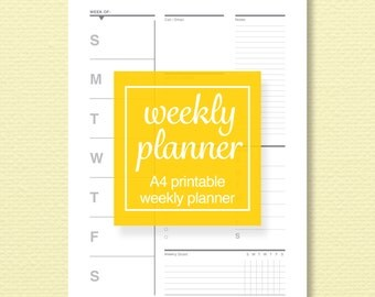 A4 Printable Weekly Planner Page - Schedule and To-Do List, Meal Plan and Goal Tracker - Printable PDF - Perpetual Calendar