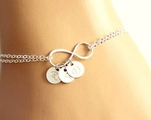 Personalized Infinity bracelet, initial disc charms, monogram letter custom Stamped, Initial , grandmother gift