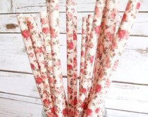 PINK FLORAL ROSE, 25 Paper Straws With Pink Rose Vintage Floral/Flower Pattern, Birthday,Wedding, Christening, Baby Shower Straws