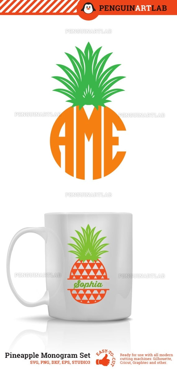 Pineapple SVG Cut Files - Monogram Frames and Patterned ...
