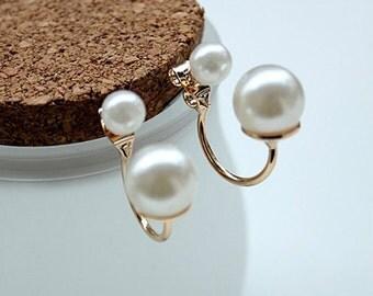 Two Sided Pearl Drop Earrings. Gold White Pearl Drop Earrings.