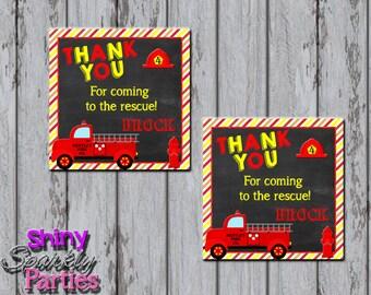FIRETRUCK FAVOR TAGS - Fireman - Firefighter - Fireman Party Tags - Fire Engine - Firetruck Birthday Decor - Firefighter Decorations