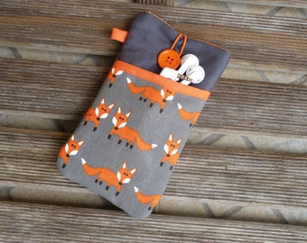 iPhone 7 Plus pouch, fox, iPhone 6 sleeve, iphone 6 Plus cover, iPhone 5 Pouch, iPhone SE,  iPod Touch 6g, padded, case pocket, iphone case