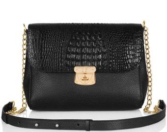 Leather Cross body Bag, Black Leather Shoulder Bag, Women's Leather Crossbody Bag, Leather bag KF-032