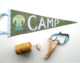 Camping Party Decor/Personalised Pennant/Custom Camp Pennant Flag/Wool Felt Pennant Banner/Vintage Camping/Summer Camp Gift/Camping Gift