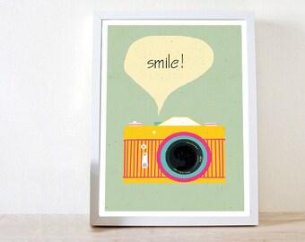 Retro  photo camera,  Art print, kid nursery,Illustration Print,Wall Print, Home Decor, Retro art ,retro print, retro poster