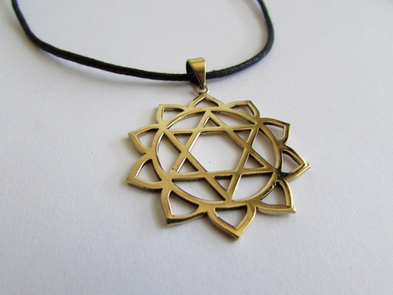 Star Of David Lotus Design Brass Pendant On Adjustable Cord Necklace Spiritual jewellery Evil Eye Jewelry  Handmade Free UK delivery