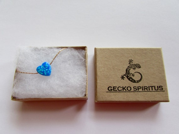 Heart Blue Opal Necklace Dainty Gold Filled Necklace Pendant Free UK delivery + Gift Box + Gift Bag