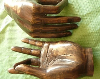 NEW !  Two Bronze Hands ,Blessing  pose,Meditating pose of hands