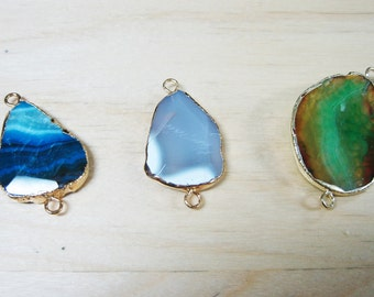Agate Connectors With Gold Plating