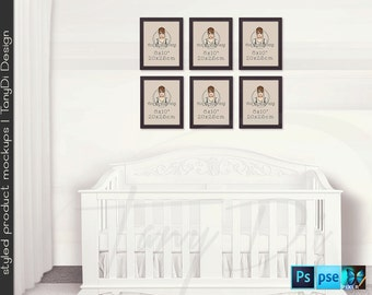 Nursery Interior #22 Set of 4 & 6 White Black 8x10 Portrait Frames, Nursery Baby Crib, 4 Print Display Mockups, PNG PSD PSE, Custom colors