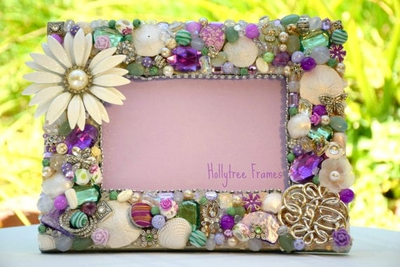 Jeweled Purple Green and Silver Hand-Decorated Frame, encrusted with Vintage Jewelry, Real Sand Dollars