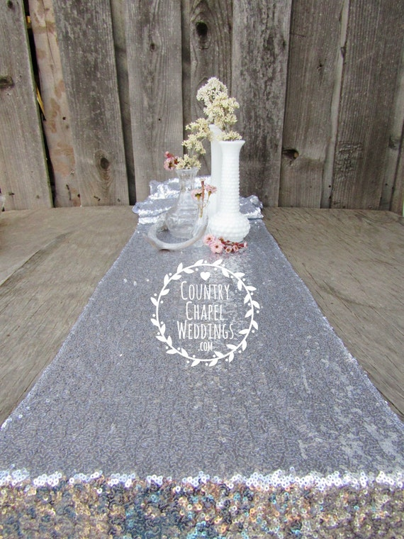 Silver sequin table runner bulk order 12 x 108 inches for 12 ft table runner