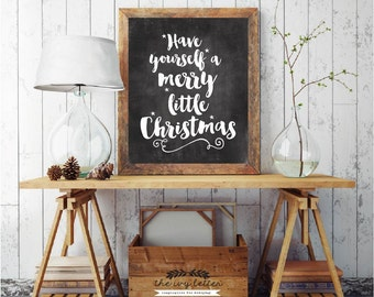 Have Yourself A Merry Little Christmas, Digital Download, Christmas Printable Chalkboard Art, Christmas Stars, Blackboard Wall Art Decor,