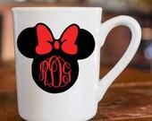 Minnie Mouse Monogram Vinyl Decal, Minnie Mouse Sticker, Disney Vinyl, Personalized Disney, Minnie Mouse, Disney, Vinyl, Car, Decal