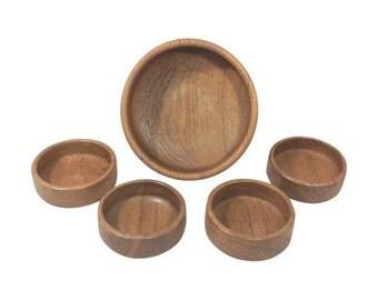 Danish Modern Teak Salad Bowl Set-Five Pieces
