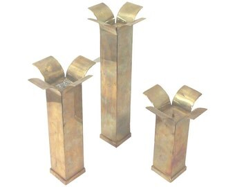 Sabatini Modernist Brass Candle Holders, Large Scale-Set of Three