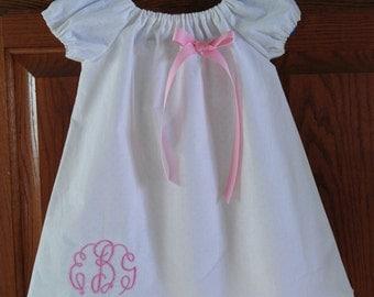Monogrammed/Embroidered Peasant Dress for Baby/Toddler/Girl, Dedication Dress, Baptism Dress, Spring Dress, Easter Dress