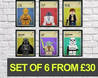 Lego Star Wars prints, Set of 6 prints, Mid Century Modern, Typography Print, Childrens Bedroom Art, Nursery Pictures, Kids art, Wall art