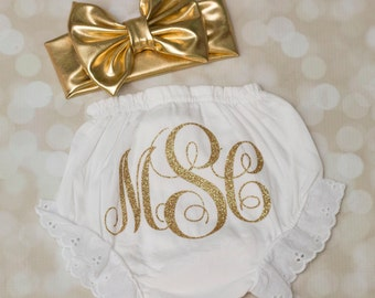 Baby girl bloomers; diaper cover; matching bow turban