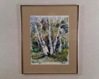 """Vintage Hand Pulled Print Sally Rhone Kubarek Signed """"The Magic Birches"""" Framed Bought In Germany 1980's"""