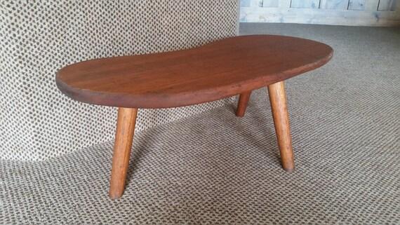 Vintage Solid Teak Kidney Shaped Coffee Table Danish Modern