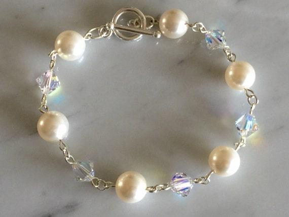 Crystal AB & White Pearl Sterling Bracelet