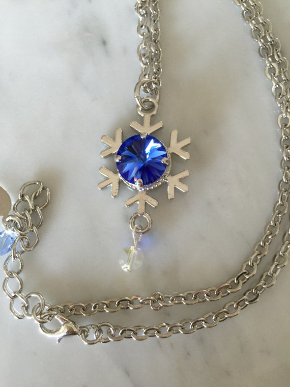 Sapphire Crystal Snowflake Pendant Necklace, Silver