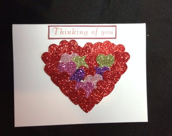 Handmade 3D Thinking of you card with envelope