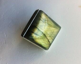 Labrodorite Ring Spectrolite Ring Bezel Set Silver 925 Square Labradorite Ring Big Statement Labradorite Square Mystical Fire Flash Size 5.5
