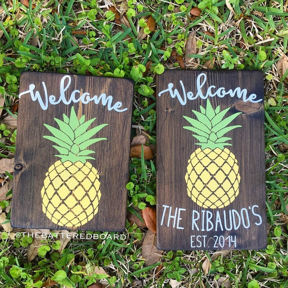 Pineapple welcome wood sign or personalized by for Pineapple outdoor decor
